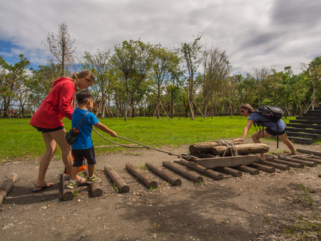 Luodong, Taiwan - October 18, 2016: Family playing in the Luodong Forestry Culture Garden Editorial