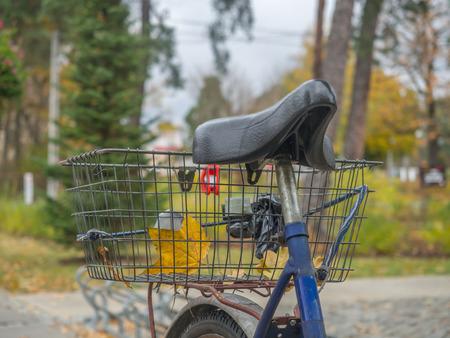 Bike seat and a metal shopping cart on a rusty bike trunk Stock Photo