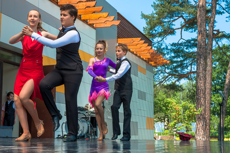 Jozefow, Poland - May 30, 2015: Pairs of young people during a dance show