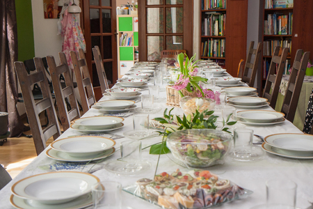 A table ready for  family festival or Christmas Eve