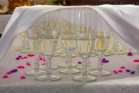 Champagne in the glasses for New Years eve Stock Photo
