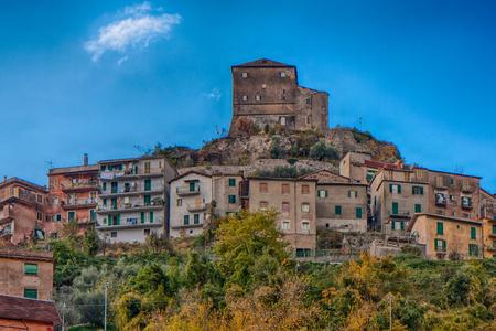 Subiaco, Italy, - November 09, 2014: Small village on the hill, Subiaco, Rocca Abbaziale