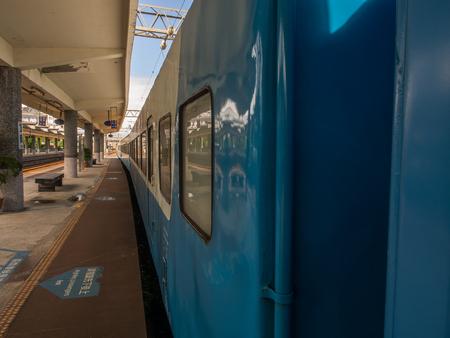 Ilan, Taiwan - October 05, 2016: Blue wagons of  Taiwanese train.
