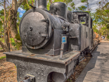 Luodong, Taiwan - October 18, 2016: A locomotive train carrying camphor tree in Luodong Forestry Culture Garden