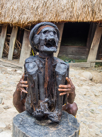 Wamena, Indonesia - January 23, 2015: Mummy presented by a member of the Dali tribe, near  Wamena town in the heart of Baliem Valley Editorial