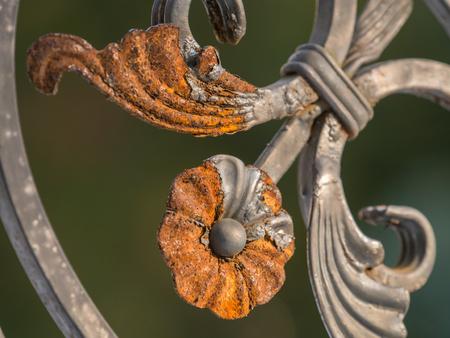"""Rusty """"flower"""" on a metal gate Stock Photo"""