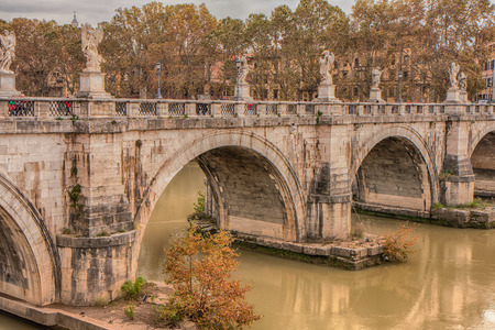 Rome,  Italy - November 11, 2014: A monument bridge of the ancient Rome. Ponte SantAngelo. Editorial