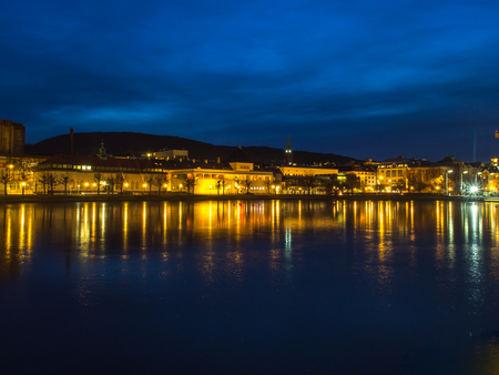 Lille Lungegardsvannet or Smalungeren is a small 5 acres lake in the centre of the city of Bergen in Hordaland county by night, Norway 写真素材