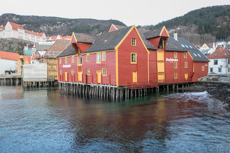 Bergen, Norway - February 10, 2017: Colorful houses on stilts on the banks of a fjord in Bergen Editorial