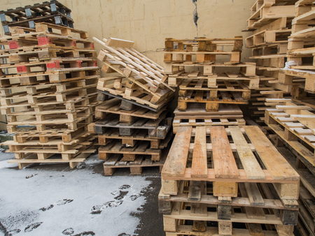Wooden euro pallets lying in a stack