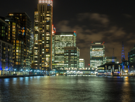 Skyscrapers of Canary Wharf in the background