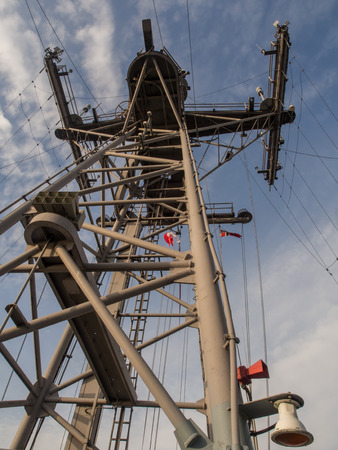 Radar tower on a naval ship
