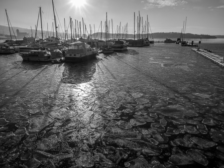 Oslo, Norway - February 17, 2017:  at the harbour of Oslo in winter Editöryel
