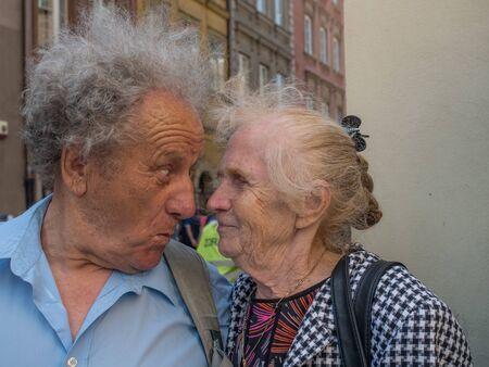 Portrait of happy people. Elderly couple during the walk 写真素材