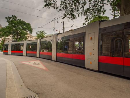 Vienna, Austria - May 23, 2017: A tram on a street of Vienna at Leopold Gratz Platz.