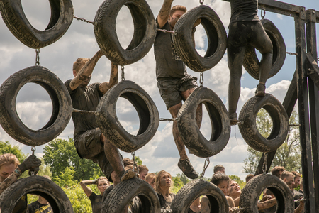 Warsaw, Poland - May 27, 2017: An obstacle during the obstacle course