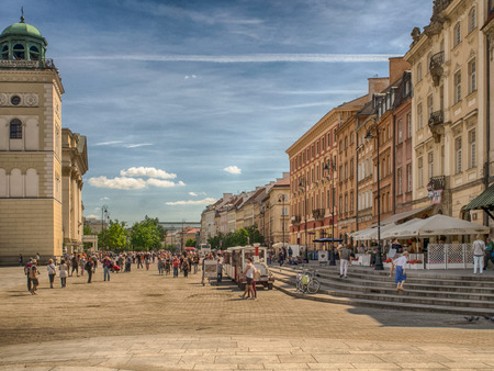 Warsaw, Poland - June 02, 2017: Krakowskie Przedmiescie, one of the best known and most prestigious streets of Warsaw