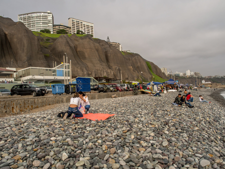 Lima, Peru - September 23, 2017: Beautiful view of Lima coastline from Miraflores district Editorial