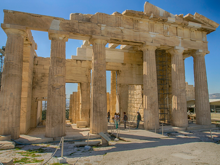 Athens, Greece: Parthenon temple at the Acropolis of Athens in Greece Temple of Goddess Athena. Banque d'images