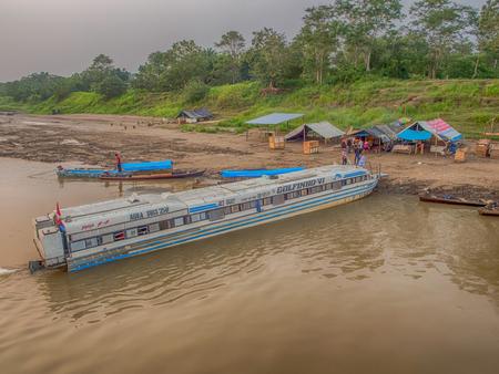 Tapioka Village, Peru - Sep 19, 2017: Fast boat at the bank of Amazon river