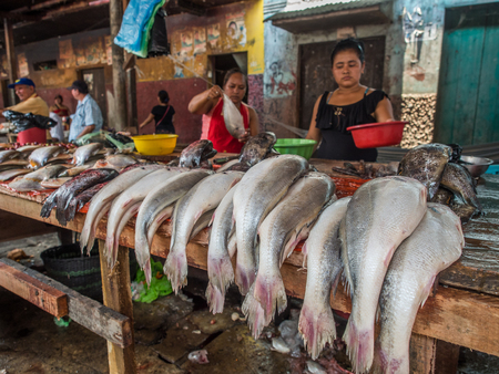 Iquitos, Peru - September 21, 2017: Typical local bazaar in Peru with lots of local products. Belem