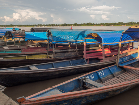 Santa Rosa, Peru - Dec 10, 2017: Traditional, Indian  boats  on the bank of the river