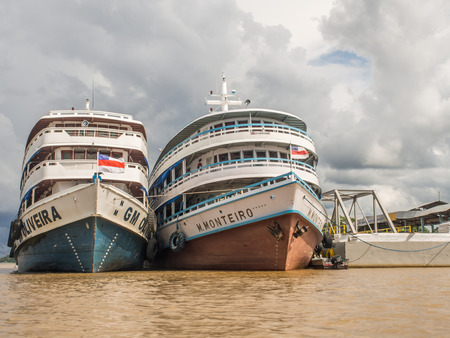 Benjamin, Brazil - Dec 09, 2017:  Big, passenger boats in the Amazon river