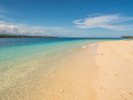 Beautiful tropical beach on one of  Seven Islands, near the Seram Island, Maluku, Indonesia, Pelau Sau,  Sau'u, Banda Sea, Asia Stock Photo