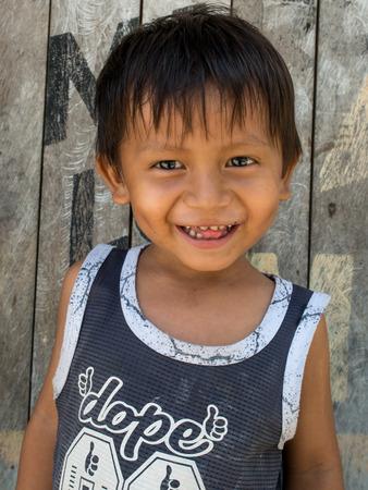 Santo Tomas, Peru - May 17, 2016: Portrait of a small boy - an inhabitant of Peru.