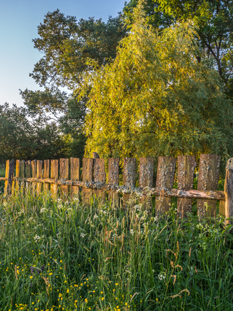 An old wooden fence, covered with moss in the rays of the rising sun. Podlasie. Podlachia. Poland, Europe. The region is called Podlasko or Podlasze Banco de Imagens