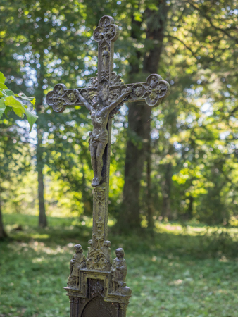 Remains  from the orthodox church - cemetery in Beniowa village. Ddistrict of Gmina Lutowiska, within Bieszczady County, Subcarpathian Voivodeship, in south-eastern Poland, close to the border with Uk 스톡 콘텐츠