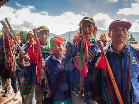 Bogota, Colombia - December 01, 2017: A tribe from the north of Colombia. CXHAB WALA KIWE. Indigenous people of northern Cauca. Territory of Great Town.