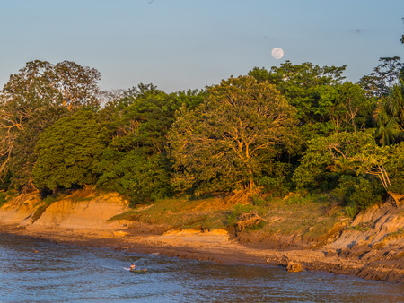 Bank of the Amazon river during the low water season. View from the deck of a cargo boat on sunrise of the moon. Amazonia. Peru. South America.