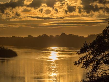 Sunrise view  over Yavarii river in Amazonia. Border of Brazil and Peru