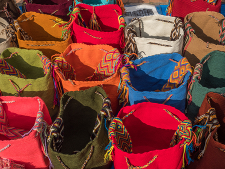 Colorful bags on the street of Bogota. Colombia. Latin America.