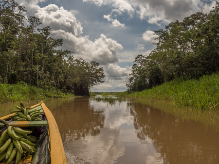 Paumari, Brazil- November 25, 2018: Traditional, indian boat and beautiful view with the reflection in the lagoon of Amazon jungle. Latin America Stock Photo