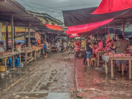 Iquitos, Peru - December 06, 2018: Market with various types of meat, fish and and fruits. Belen Market. Latin America. Belén Mercado. Editorial