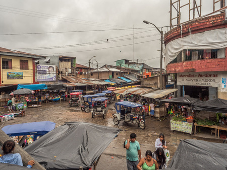 Iquitos, Peru - December 06, 2018:  Belen Market. During the high water season this part of bazaar is covered with water. Latin America. Belén Mercado.