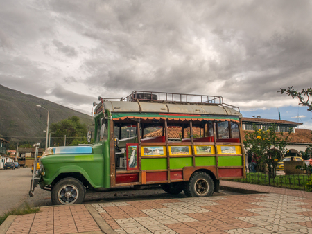 Villa de Leyva, Colombia  - May 03, 2016: Turistic  truck  waiting for the tourist on street of a small southern town. South America Redakční