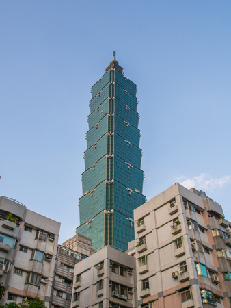 Taipei, Taiwan - October 02, 2016: Taipei 101 and other skyscrapter. Landmark supertall skyscraper in Xinyi District.