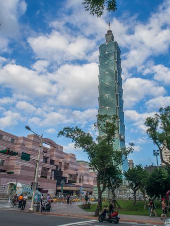 Taipei, Taiwan - October 02, 2016: Taipei 101. Landmark supertall skyscraper in Xinyi District.