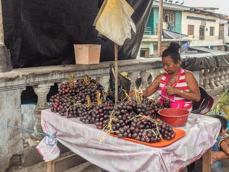 Iquitos, Peru - December 06, 2018: Market with various types of meat, fish and and fruits. Belen Market. Latin America. Belén Mercado. Redakční