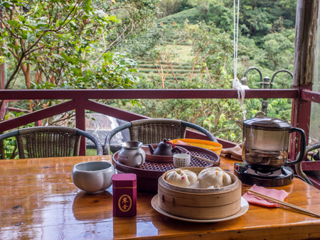Maokong, Taiwan - October 19, 2016: A gongfu tea table with accessories in a local tea house on the hills of Maokong Taiwan. Asia Redakční