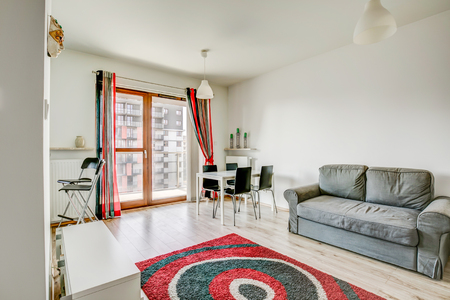 New furnished apartment. White living room with black and red carpet, grey sofa and a nice view