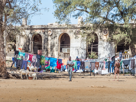Goree, Senegal- February 2, 2019: Daily life on the  island Goree. Gorée. Dakar, Senegal. Africa.