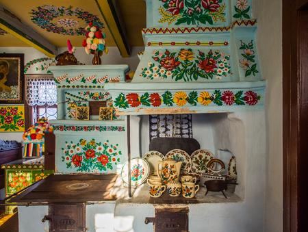 Zalipie, Poland - January  07, 2017: Colourful room in the log house  of Felicia Curylowa in the village Zalipie in Malopolska Redakční