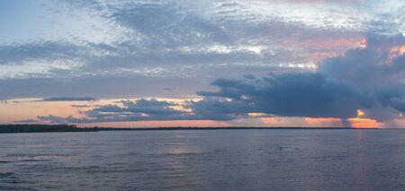 Panoramic view of Amazon River during sunset Amazonia.  Peru. South America. Stock Photo
