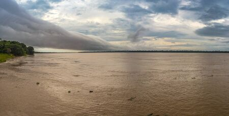Panoramic view of Amazon River, White water. Amazonia.  Peru. South America. Stock Photo