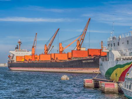 Dakar, Senegal - February 2, 2019: Big ship in port of Dakar in Senegal. Africa.