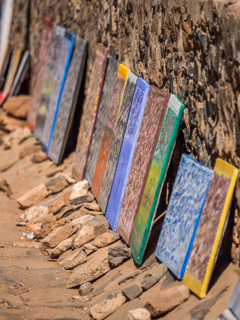 Goree, Senegal - February 2, 2019:  Typical souvenir, on island of Goree. Gorée. Dakar, Senegal. Africa.